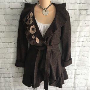Brown wool long belted felt flower cardigan Med